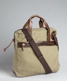 style #319900302 olive coated canvas 'Station' zippered tote bag