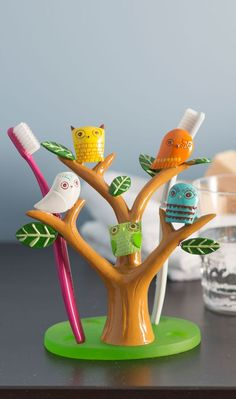 Tree owl toothbrush holder #product_design
