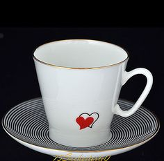 """Russian Imperial Lomonosov Porcelain Bone Coffee Cup and Saucer """"Hearts"""", NEW"""
