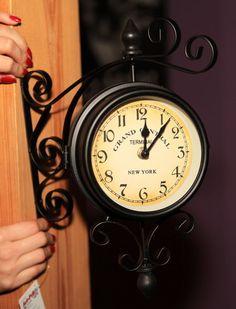 Uhr der Wand VINTAGE GLAS CLOCK Station SEITIGE RETRO