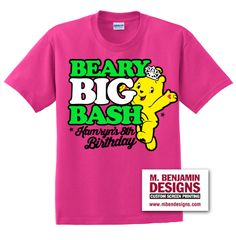 Beary Big Bash! Perfect for party favors! Only at M. Benjamin Designs. #customscreenprintshirts #mbendesigns #bears #celebration #partyfavors #birthday #bash