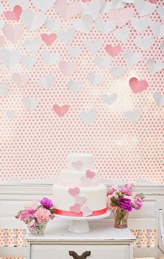 Valentine paper heart backdrop