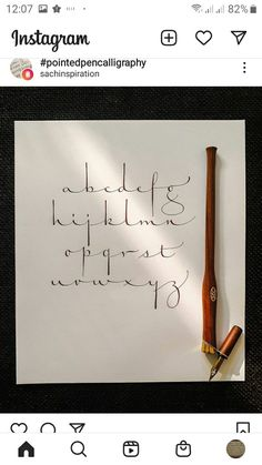 Handwriting Examples, Calligraphy Handwriting, Calligraphy Alphabet, Penmanship, Cursive, Creative Lettering, Lettering Styles, Brush Lettering, Calligraphy For Beginners