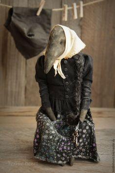 Купить Аксинья - черный, ворона, авторская кукла, старинный стиль, винтажный стиль, странный