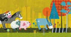 Spread from my upcoming book Happy Hooves - Ta Dah! Used in my course How to Write and Illustrate a Picture Book