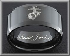Tungsten Carbide Band Marines 10mm Black Beveled Ring