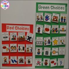management system for preschoolers can be as simple as making green and red choices.Behavior management system for preschoolers can be as simple as making green and red choices. Autism Classroom, Classroom Rules, Preschool Classroom, Classroom Activities, Preschool Schedule, Classroom Expectations, Classroom Decor, Preschool Rules, Preschool Colors