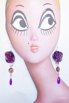 purple flower earrings purple flower girl by CocoFlowerShop