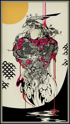 A slightly more disturbing heart-illustration by Aubrey Beardsley.