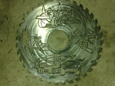 Logger collage on saw blade