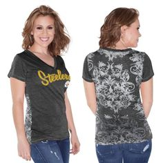 Pittsburgh Steelers Touch by Alyssa Milano Women's Audrey V-Neck T-Shirt – Black