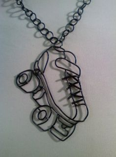 Roller Derby Skate Necklace by AxeToGrindDesigns on Etsy, $60.00