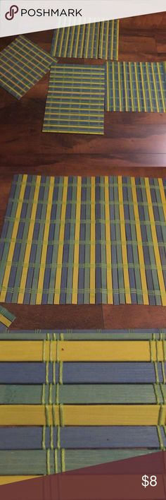 4 set wooden table Matts.  Sells in a set of 4. Blue, green, and yellow cute wooden table place mats or whatever you would like to use them for!! Other