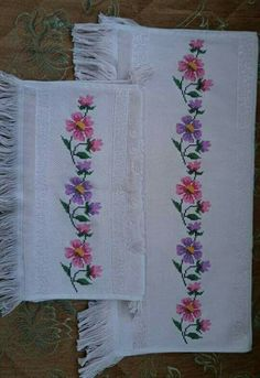 Crochet Bedspread, Linen Towels, Ribbon Embroidery, Diy And Crafts, Cross Stitch, Create, Nature, Counted Cross Stitches, Cross Stitch Rose