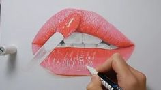 Tutorial - How to draw realistic glossy lips - copic markers and colored pencils