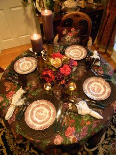 Autumn Table  with transferware This is truly a beautiful table. Never had thought of using such a tablecloth--it is very warm, elegant and inviting Love the use of lace-trimmed napkins with the roses! I will consider for future autumn entertaining...