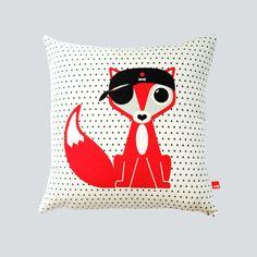 HJEM Pirate fox organic cushion   Shop@ myhjem.com   #pirate #organic #fox #hjem #contemporarycraft #britishmade