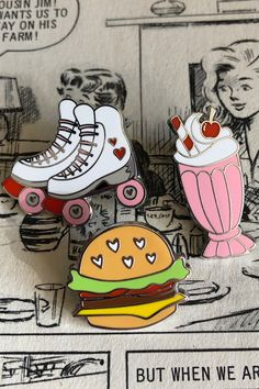 Roll up to the diner and grab a bite, maybe a burger, a shake if you like. It's a tasty trio, with a need for speed. This set includes our Memorable Milkshake, Rollicking Rollerskates and Hearty Hamburger enamel pins. Sets also save you over 10% OFF the full RRP compared to purchasing these three designs individually. Wow Art, Cool Pins, Re Zero, Pin And Patches, Aesthetic Vintage, Lapel Pins, Wall Collage, Cute Wallpapers, Painted Rocks