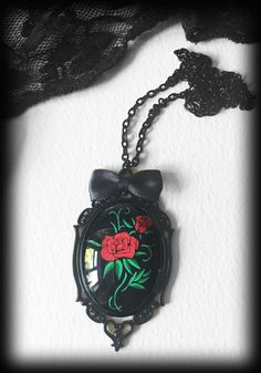 Gothic Victorian Necklace, Red Rose Tattoo, Glass Cameo Pendant, Rockabilly…