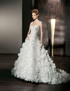 Fashionable sweetheart natural waist taffeta wedding dress $497.00