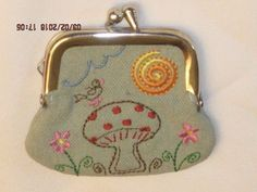 Mushroom & Birds Live Love Laugh Small Embroidered Coin Purse W/ Check Interior #Unbranded #CoinPurse