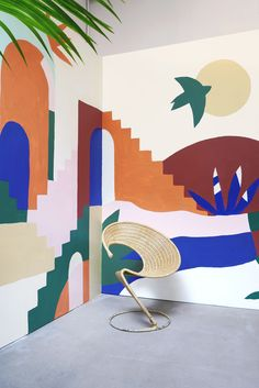 A wall mural like this would be fun for an outdoor nook too Space Painting, Mural Painting, Outdoor Wall Paint, Murals Street Art, Mural Wall Art, Painted Wall Murals, Wall Paint Colors, Wall Patterns, Wall Painting Patterns
