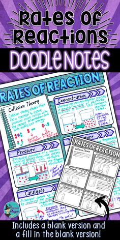 Rates of Reactions Science Doodle Notes - includes collision theory, concentration, pressure, temperature, catalysts, and surface area. Science Doodle Notes are a great alternative to traditional notes! Science Resources, Science Lessons, Teaching Science, Teaching Resources, Science Ideas, Collision Theory, Science Doodles, Middle School Teachers
