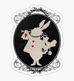 Pegatina Alicia en el país de las maravillas Conejo blanco Retrato oval