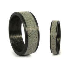 Concrete & carbon fiber wedding bands by Ezequiel Rosler.