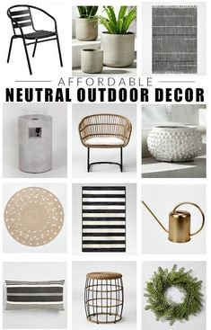 Affordable and neutral decor for creating stylish outdoor spaces on a budget. #outdoor #deckdecor #deck #outdoordecor #patio #patiofurniture #planters #Spring #springdecor