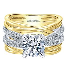 Gabriel - 18k Yellow/white Gold Contemporary Engagement Ring