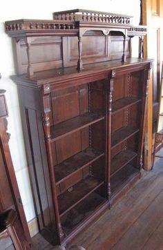Tall Victorian Eastlake Walnut Open Front Bookcase | eBay