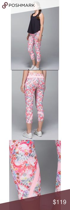 Lululemon Inspire Crop II-Floral Flowabunga, Sz 10 Lululemon Inspire Crop II-Floral Flowabunga, Size 10  Lulu Inspire Crop II in Floral Flowabunga Bleached Coral (mainly pink, purple, blue, and gray) print. Two small inner waistband pockets and a back zipper pocket for keys/ID. Inseam measures 21.5 inches. Waist is 32 inches (16 inches across), but of course it's stretchy. Made of Full-on Luxtreme and mesh. Release date July 2014. Fab like-new condition! ☺️ lululemon athletica Pants Ankle…
