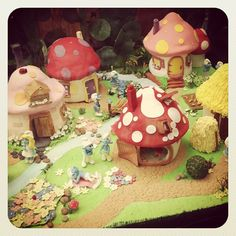 Smurf Village made from cake