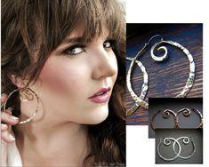 Nora Catherine Jewelry - Medium Pound Swirl Hoop Earrings in Copper Bronze by noracatherine, $30.00 #NoraCatherine
