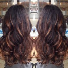 Started with golden caramel balayaged lights on her dark brown hair done by lemastyyles.