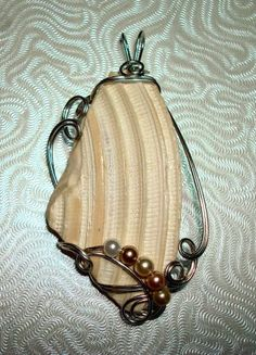 wire shell jewelry   Wire Sculpted Textured Shell Fragment Pendant ...   Seashell Jewelry ...