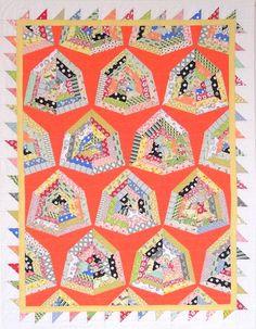 Orange Retro Quilt Wall Quilt Lap Quilt by KarenGriskaQuilts