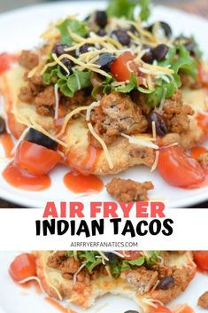 Make a delicious dinner with these #GlutenFree Air Fryer Indian Tacos. These are perfect to make without the oil with this fry bread. It's not deep fried, it's air fried! #AirFryer #AirFryerRecipes #AirFryerFanatics