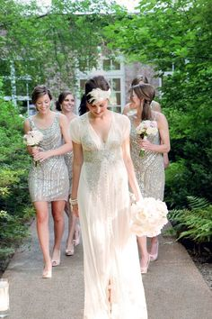 These bridesmaids dresses are stunning! | 46 Great Gatsby Inspired Wedding Dresses and Accessories