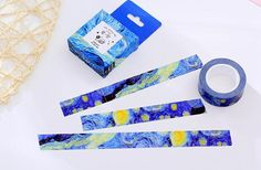 Starry night  washi tape 10M Van Gogh Starry Night Washi masking tape deep blue sky oil painting washi tape decor diary planner gift