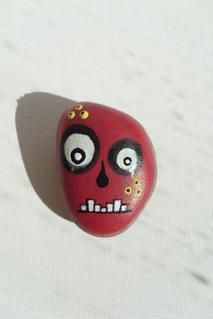 Zombie - Painted Zombie's Head - Painted Sea Stone - OOAK. $10.00, via Etsy.