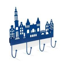 Hatrack    4 hook coated metal rack (14x21 cm I 5.5x8.3 in)    The shape is based on well-known monuments within the Amsterdam canal belt including the Rijksmuseum building.