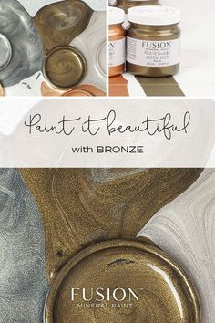 Bronze by Fusion Mineral Paint - Our Bronze Metallic is so deep and rich, it is sure to bring a lavish, regal feel to your décor. Metallic Painted Furniture, Paint Furniture, Furniture Makeover, Furniture Ideas, Furniture Design, Copper Uses, Decoupage, Chalk Paint Colors, Pintura Country