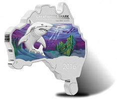2016 $1 Great White Shark Australian Map-Shaped Silver Coin