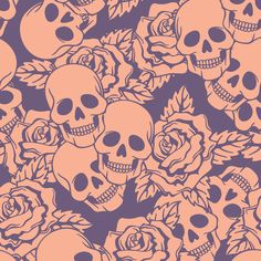 Boysenberry Skulls Large fabric by sugarxvice on Spoonflower - custom fabric