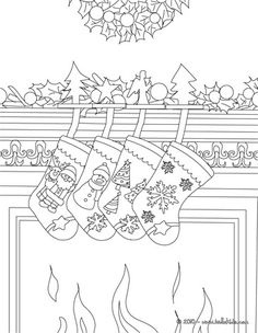 Cute Christmas Socks On The Chimney Coloring Page