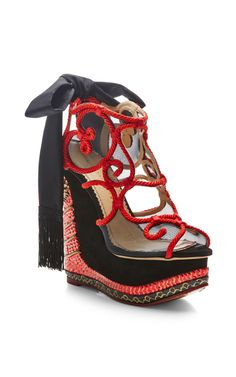 The Great Wedge Of China Embellished Platform Wedge Sandals by Charlotte Olympia - Moda Operandi