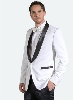 Featured Looks :: Formal Man. Go for a white tuxedo and black satin lapel to stand out among the crowd.