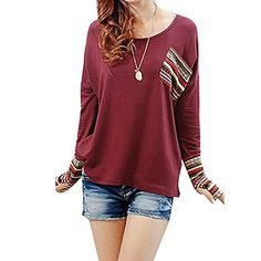 cd625c22261 Doinshop Womens Long Sleeve Round Neck Tops Checked Loose Shirt Blouse Warm  Tee
